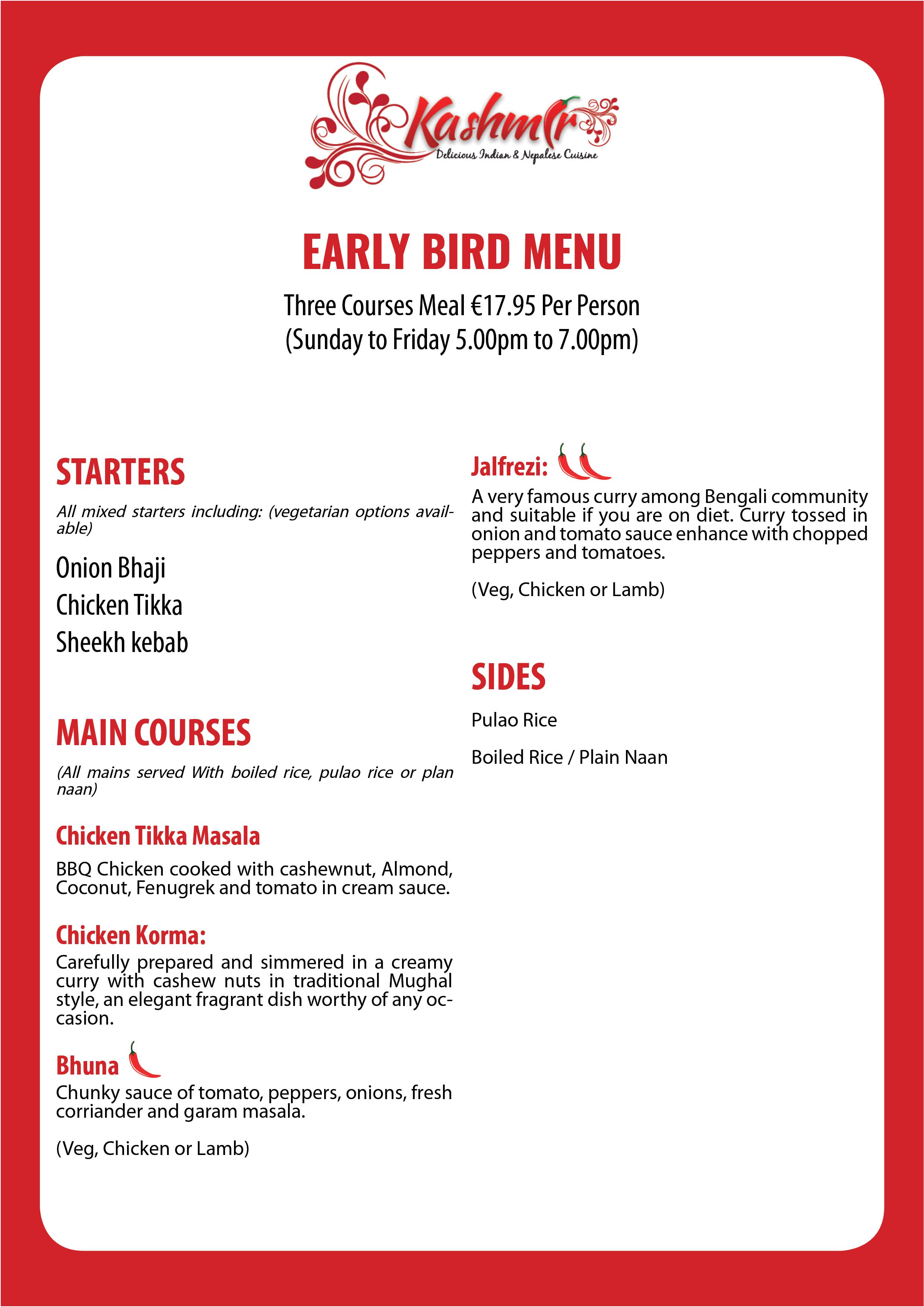 Kashmir Restaurant Galway Ealry Burd Menu.