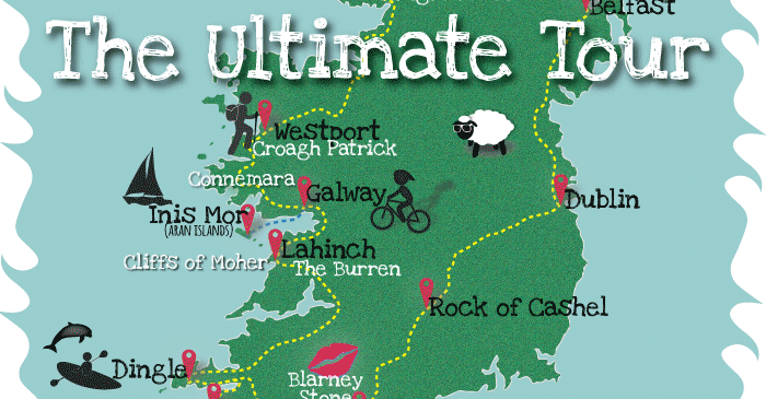 A map of Ireland showing main tourist attraction places.